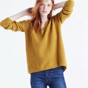 Madewell Mustard V-Neck Pullover Sweater Ribbed